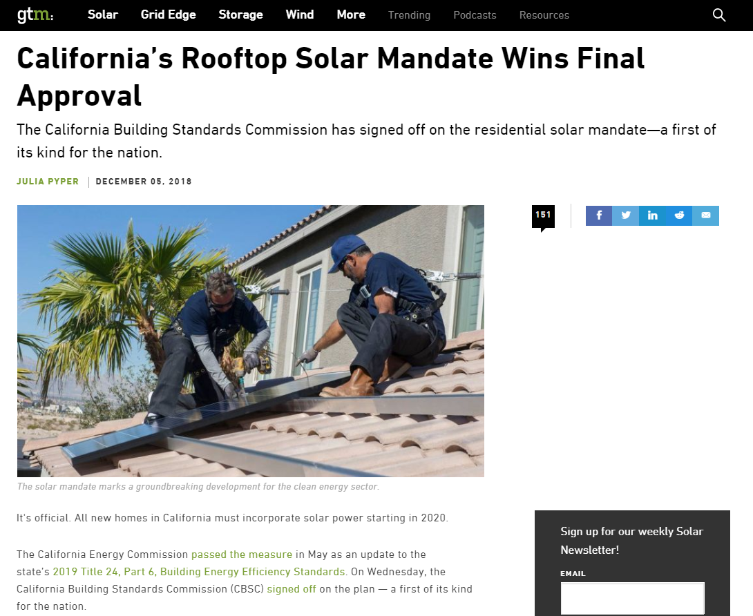 GTM- California's Rooftop Solar Mandate Wins Final Approval