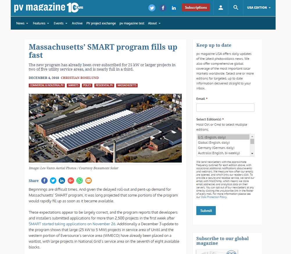 Massachusetts SMART Program Fills up