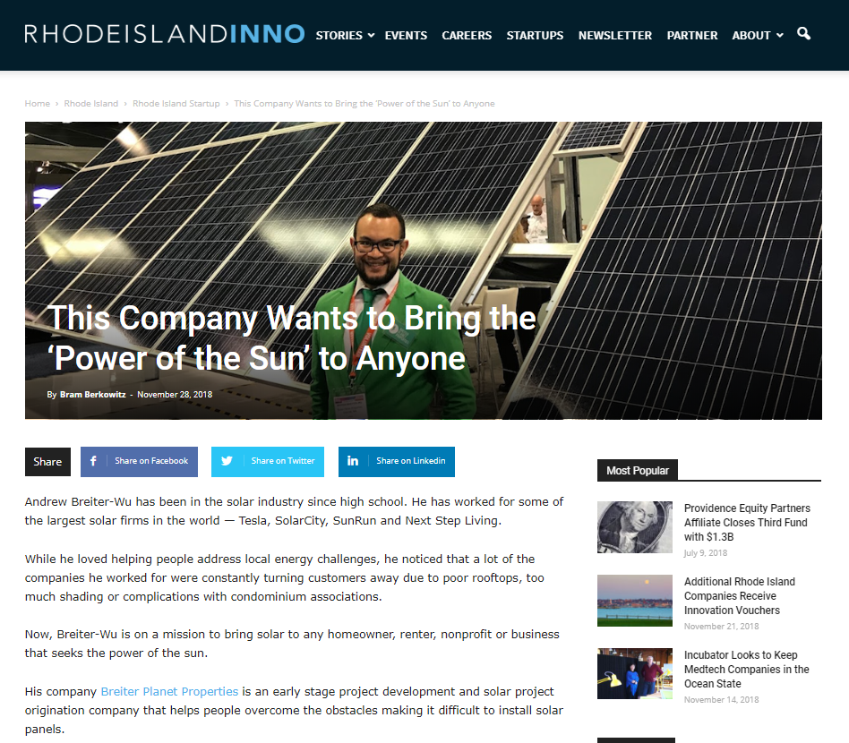 Rhode Island Inno- This Company Wants to Bring the 'Power of the Sun' to Anyone